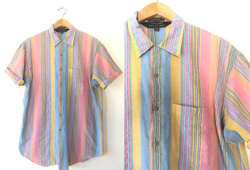 90s pastel rainbow striped button up cotton chambray short for Pastel colored men s t shirts