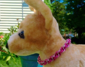 Double Pink Spiral Luxury Cat / Dog Chainmaille Collar with or without Breakaway Safety Clasp - Ready To Ship