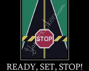Ready, Set, STOP!! - Afghan Crochet Graph Pattern Chart - Instant Download