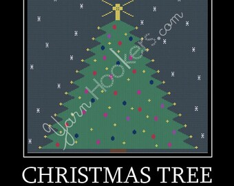 Christmas Tree  - Afghan Crochet Graph Pattern Chart - Instant Download