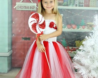 Christmas Red and White Sequin Tutu Dress