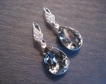 Large Black Diamond Swarovski Crystal Drop Earrings/ Bridal Jewelry/ Bridesmaid Jewelry/ Crystal Earrings/ Swarovski Earrings