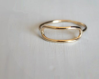 Oblong Ring//14kt Gold Filled//Handcrafted//Made to Order