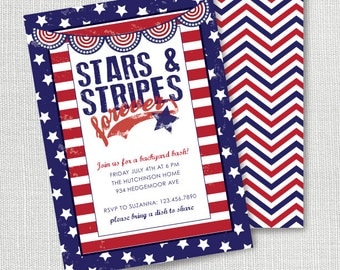 Memorial Day or Fourth of July patriotic invitation stars and stripes