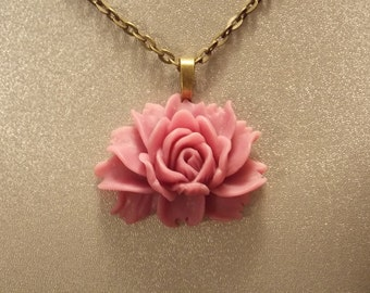 Purple Victorian Rose Pendant Necklace