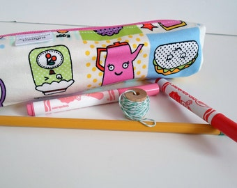 Pencil Case, Pencil Pouch, School Supply – Kawaii Food Lunchroom Japanese Fabric  - Toiletry & Cosmetics Bag