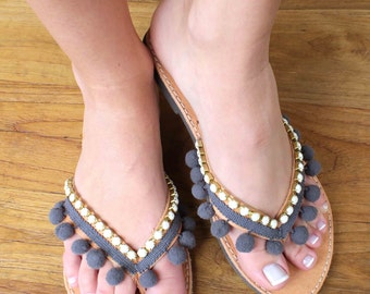 Leather flip flops. Pom pom grey leather sandals. Greek boho summer shoes. Beachwear sandals. Bohemian sandals. Gift for her sandals