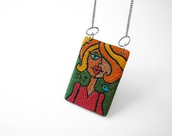 "Art Jewelry / fun necklace, woman art, mosaic jewelry, mosaic art, mosaic portrait, polymer clay, OOAK / ""Bird Lady"" /"