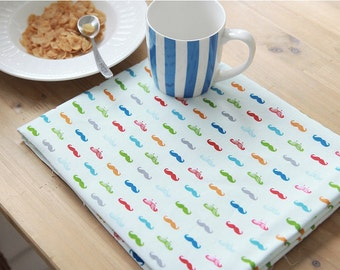 "Colorful Mustache Oxford Cotton Fabric - Light Sky - By the Yard (44 x 36"") 63979"