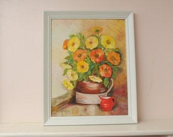 Vintage Original Painting Still Life Orange Yellow Flowers SIGNED