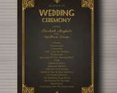 Wedding Program - Great Gatsby 1920s Arte Deco themed - custom and pintable - digital file