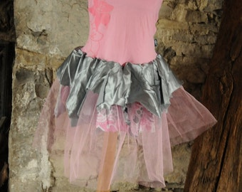 Pretty kid's fairy costume Pink & grey gray girl's fairy dress Ballet tutu dance costume Age 10 yrs