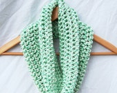 Mint green cowl neckwarmer crochet infinity scarf 100% acrylic yarn handmade womens loop scarf eternity circle gifts under 25 - GloriousMorn