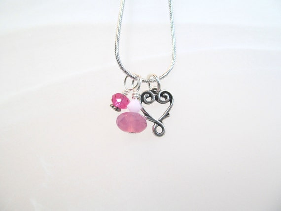 Heart Charm Necklace silver tone swirlie heart, pink crystals and pink glass beads