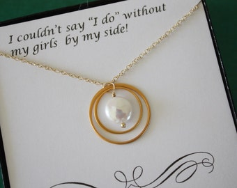 Infinity Bridesmaid Necklace, Bridesmaid Gift, Infinite Friendship, Thank You Card, White Pearl, Gold Necklace, Karma