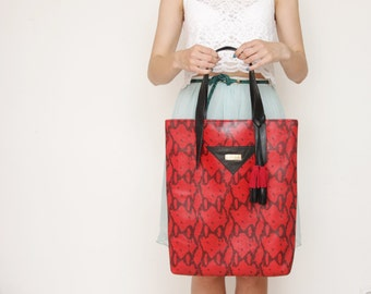 45% off SAVANNA 4 / Red snake leather tote with leather tassels - Ready to Ship - Christmas Sale