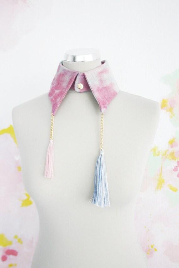 70% off H E A V E N/ Blue& Pink collar - Ready to Ship - Christmas Sale