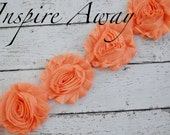 PEACH Shabby Chiffon Flower Trim - Your choice of 1 yard or 1/2 yard -  Chiffon Shabby Rose Trim, DIY headband supplies,