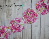 Hot pink Floral Shabby Chiffon Flower Trim - Your choice of 1 yard or 1/2 yard -  Chiffon Shabby Rose Trim, DIY headband supplies,