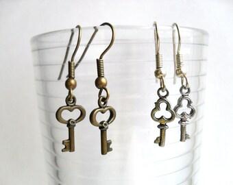 SALE Set of 2 pairs of mini key earrings