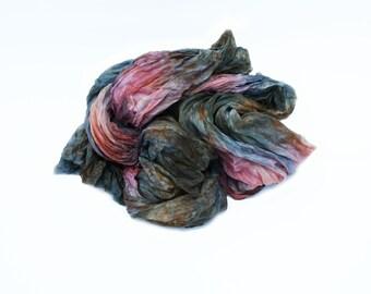 pink silk scarf -  Rose Kingdom - pink, grey, green-blue, brown silk scarf.