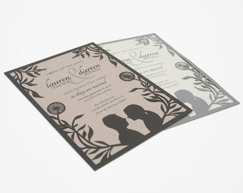 NEW! Papercut Wedding Invitations - Personalized Silhouettes - Eco-conscious - SAMPLE