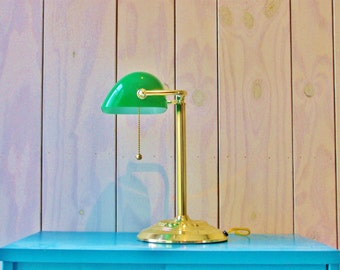 Vintage Bankers light-Green shade-Desk Lamp-Bankers' Lamp