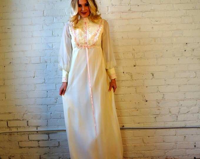 Peasant Dress Cream Chiffon & Lace 1960s Vintage Prairie Maxi Dress SMALL Off White Pink Ribbon Wedding Bridal Renaissance Hippie Prom Gown