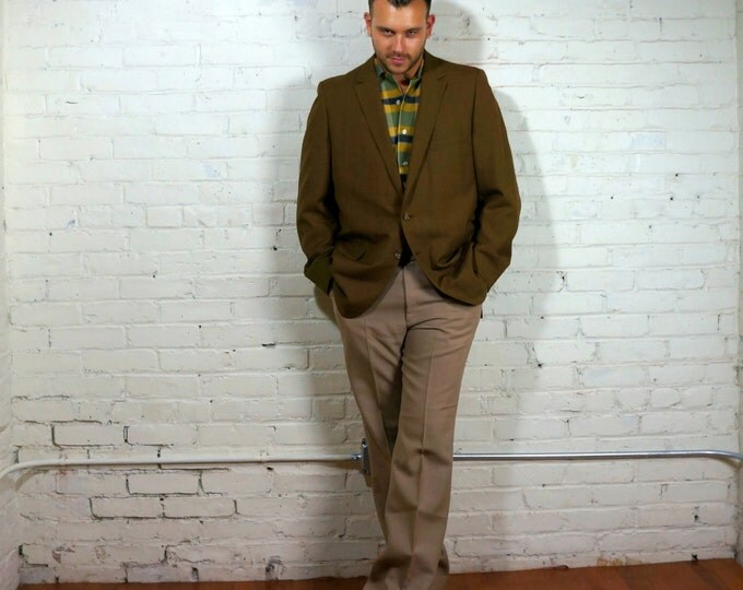 Boho Hep Cat 1960s Vintage Mad Men Era Sharkskin 2 Button Jacket Mens 44L Green Bronze Subtle Windowpane Plaid Blazer Thin Lapel Botany 500
