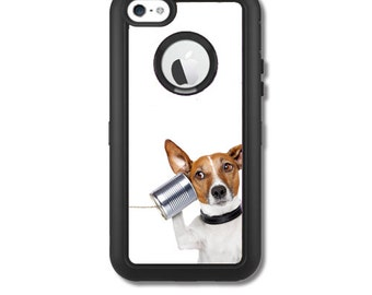 Skin FOR the OtterBox Defender Case for iPhone 5C - Dog on Tin Can Phone - Free Shipping - OtterBox Case NOT included