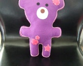 Felt Baby, Childrens Pink & Purple Teddy Bear Soft Doll Toy,suitable from birth Hand Made Felt Toy First Teddy Bear Baby shower Holiday gift