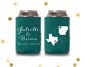 State to State - Custom Can Cooler - Personalized State - Wedding Favor or Party Gift - Engagement - Virginia Coolie Huggie Koosie