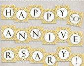Instant Download 50th Anniversary Banner - Golden Anniversary or wedding banner - printable PDF