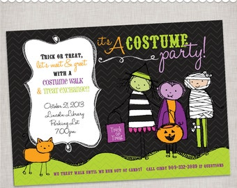 Halloween Invitation Costume Party - Trunk or Treat - Digital File or Printed Invitations with Envelopes - FREE SHIPPING