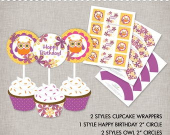 Instant Download Owl Cupcake Toppers and Cupcake Wrappers - printable PDF documents
