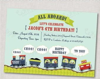 """Train Party Invitation - """"Birthday Express"""" - Printable Digital File or Printed Invitations with Envelopes - FREE SHIPPING"""