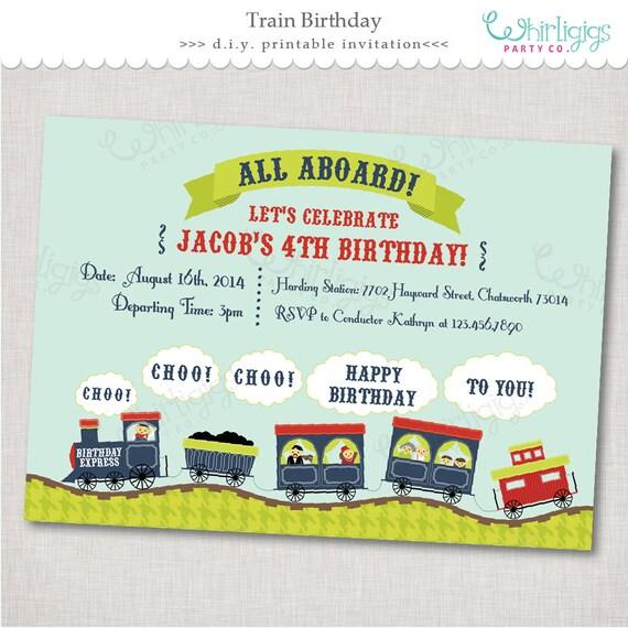 Train party invitation birthday express printable digital file il570xn stopboris Images