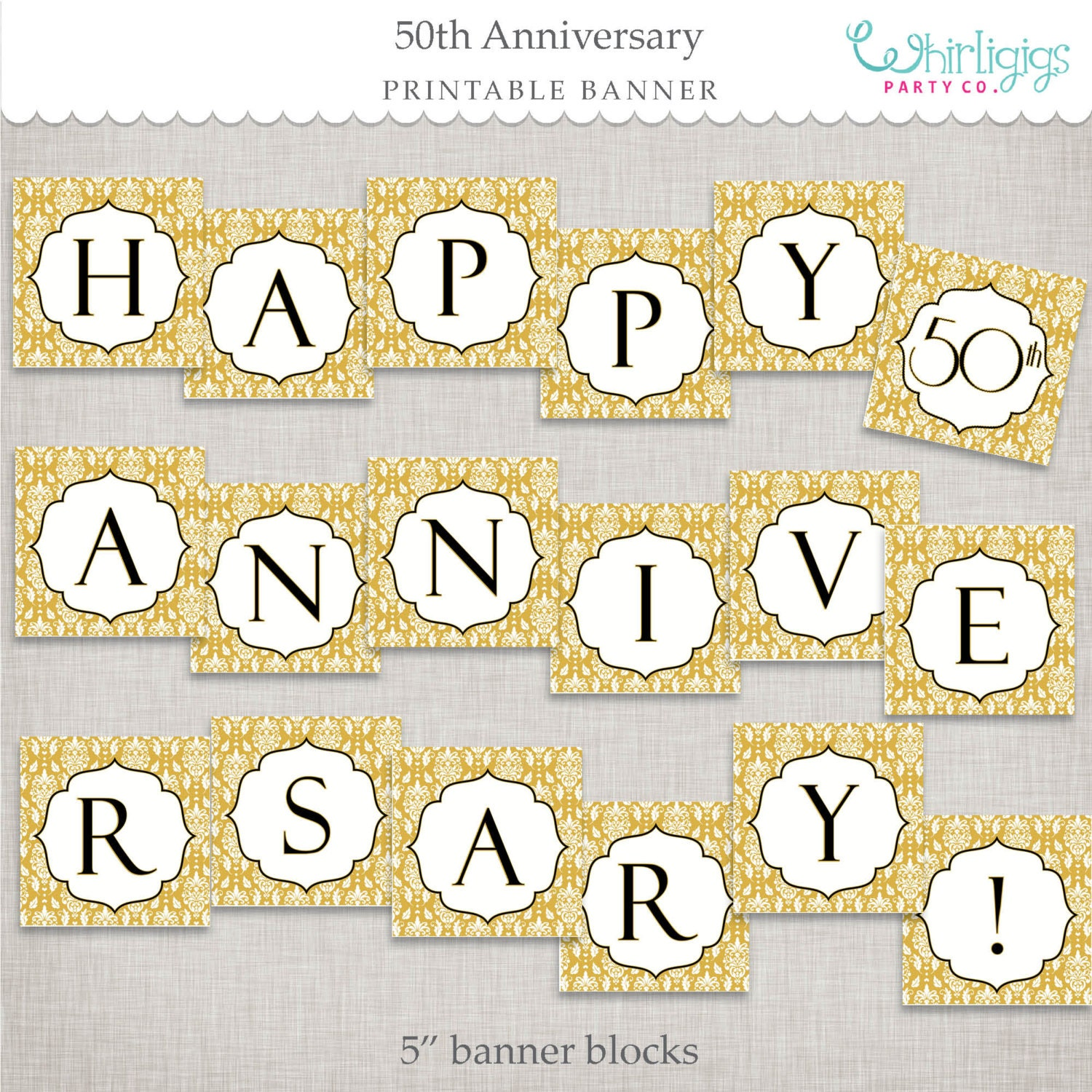 Instant Download 50th Anniversary Banner Golden Anniversary