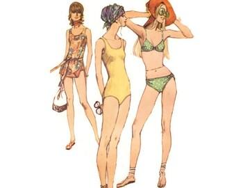 1970s Swimsuit Pattern Simplicity 9321, Bikini, 1 Piece Tank, 2 Piece Bathing Suit, Sexy Ring Trim, 1971 Vintage Sewing Pattern Bust 40