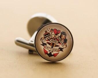 Sailor Jerry Cufflinks - Stainless Steel Mens Nautical Stewed Screwed & Tattooed Cuff Links Vintage Rockabilly Silver
