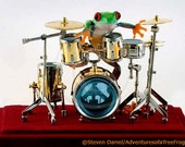 Drummer Frog Drum Photo, 8x10 Wall Art Print