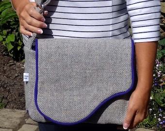 Shoulder Bag, Harris Tweed, Grey, Purple, Unique, One Of A Kind, Handbag, Grey and Purple Tweed, Messenger Bag, Harris Tweed Messenger Bag