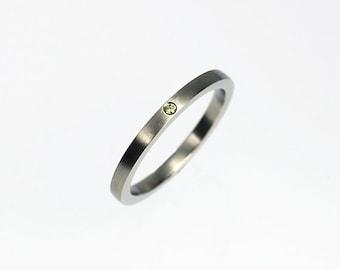 Yellow diamond wedding band, white gold wedding ring, yellow diamond ring, unique  band, matte finish, simple, engagement, contemporary