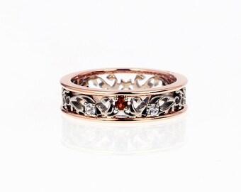 Brown and white diamond filigree ring, rose gold filigree, engagement ring, white gold, two tone, brown diamond engagement, wedding, copper