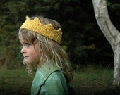 Hand Knit Golden Yellow Crown For Dress Up, Costume Box, Birthday Party or Halloween