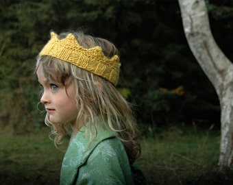 Hand Knit Golden Yellow Crown For Birthday Party, Costume Box, Dress Up, or Halloween