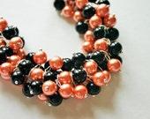 Cincinnati Bengals Orange and Black Cluster necklace ~ Gameday Jewelry
