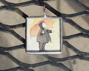 Rainy Days Soldered Art Glass Pendant/Charm