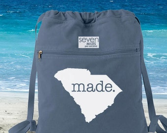 South Carolina SC  Made Canvas Backpack Cinch Sack