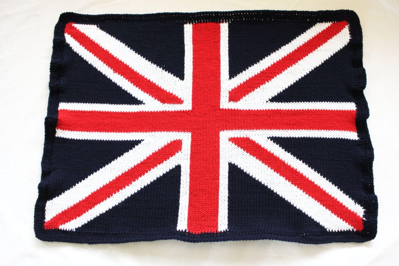 Knitting Pattern For Union Jack Blanket : Knitted union jack blanket baby blanket